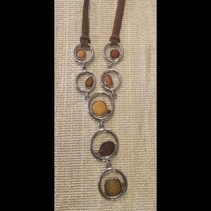 Lia Sophia Alex Leather & Amber Necklace